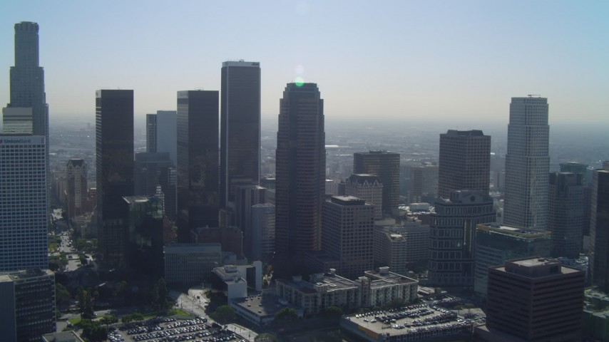 4K aerial video of Aon Center, Figueroa at Wilshire, City National Plaza, Downtown Los Angeles, California Aerial Stock Footage | DCA05_027