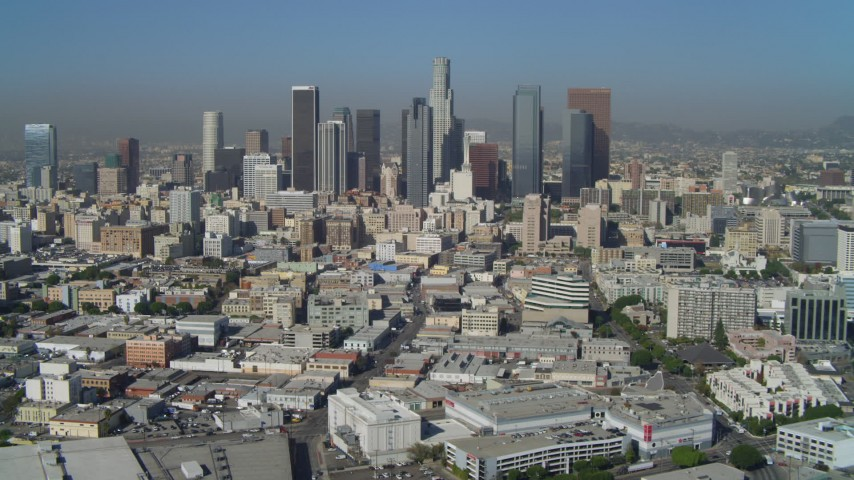 4K aerial video of Downtown Los Angeles, East 4th Street and skyscrapers, California Aerial Stock Footage | DCA05_030