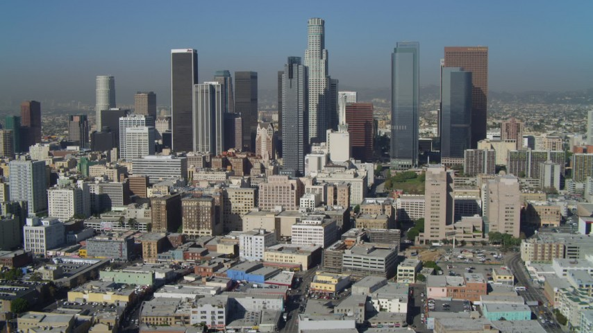 4K aerial video of East 4th Street, tilt to reveal Downtown skyline, Los Angeles, California Aerial Stock Footage | DCA05_031