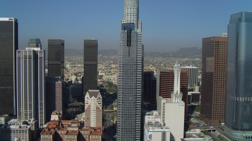 4K stock footage aerial video of Gas Company Tower, Downtown Los Angeles Public Library, Los Angeles, California Aerial Stock Footage | DCA05_033