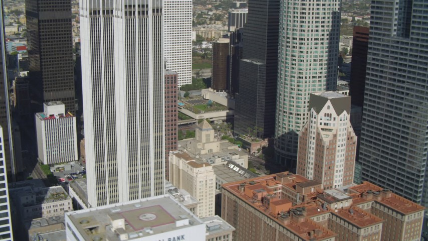 4K stock footage aerial video of Los Angeles Public Library, Downtown skyscrapers, Los Angeles, California Aerial Stock Footage | DCA05_034