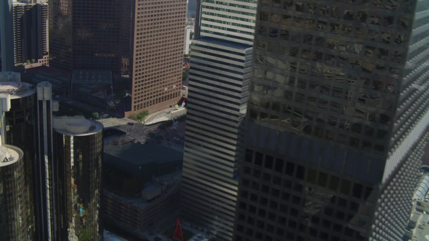 4K stock footage aerial video of Paul Hastings Tower, Los Angeles Public Library, Downtown Los Angeles, California Aerial Stock Footage | DCA05_036