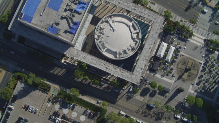 4K stock footage aerial video of Mark Taper Forum, Downtown streets, fountain, pavilions, Los Angeles, California Aerial Stock Footage | DCA05_037