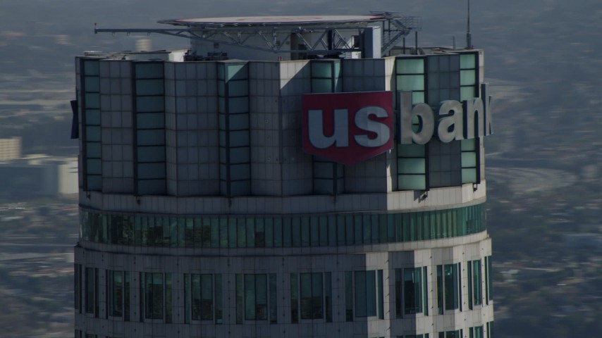 4K stock footage aerial video of a close-up orbit of US Bank Tower, Downtown, Los Angeles, California Aerial Stock Footage | DCA05_048