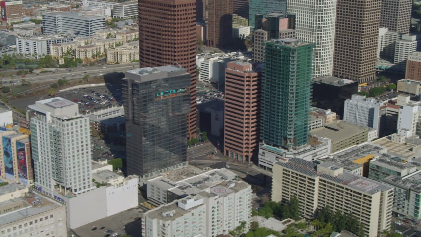 4K stock footage aerial video of flying by Downtown skyscrapers, high-rise buildings, Los Angeles, California Aerial Stock Footage | DCA05_049