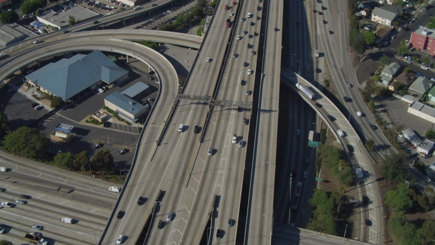 4K stock footage aerial video of Interstate 110 and 10 interchange, Downtown Los Angeles, California Aerial Stock Footage | DCA05_051