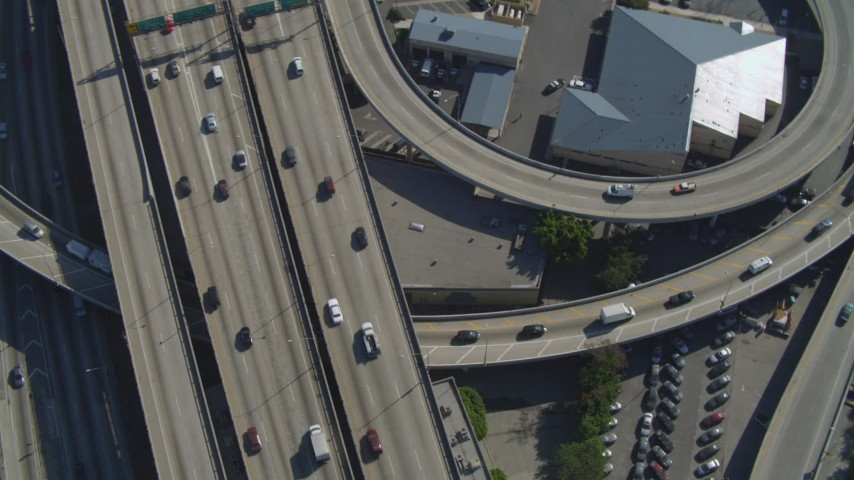 4K stock footage aerial video of Interstate 110 and 10 interchange, Downtown Los Angeles, California Aerial Stock Footage | DCA05_052