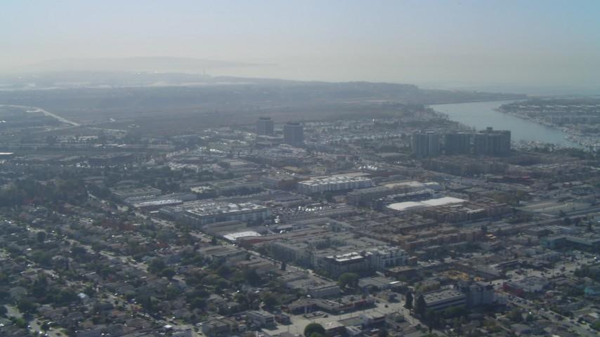 4K stock footage aerial video of flying by residential neighborhoods in Marina Del Rey, California Aerial Stock Footage | DCA05_062
