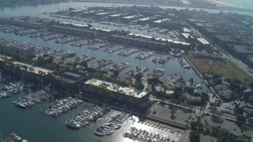 4K stock footage aerial video of flying by boats in the marina, Marina Del Rey, California Aerial Stock Footage   DCA05_065