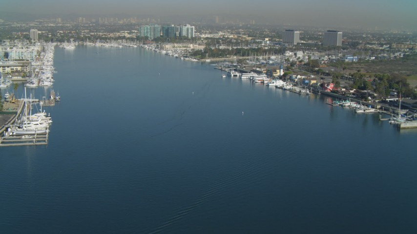 4K aerial stock footage video of approaching boats in the marina, Marina Del Rey, California Aerial Stock Footage | DCA05_068
