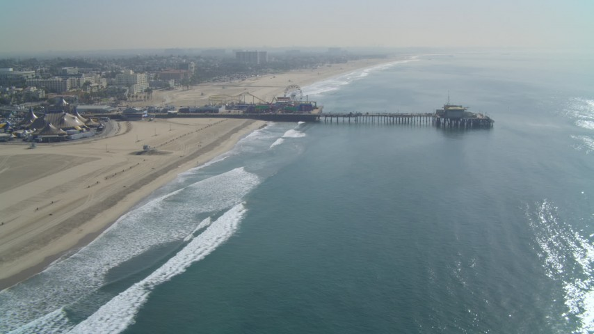 4K aerial video of flying away from the Santa Monica Pier, Santa Monica, California Aerial Stock Footage | DCA05_083