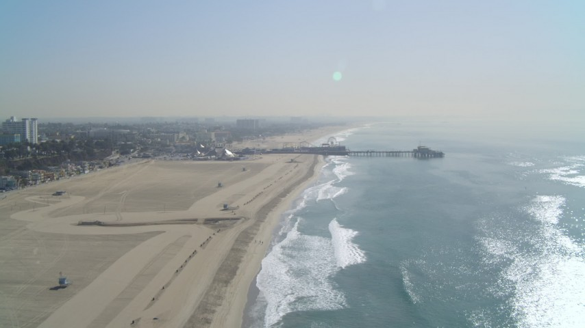 4K stock footage aerial video of Santa Monica State Beach, Santa Monica Pier, Santa Monica, California Aerial Stock Footage | DCA05_085