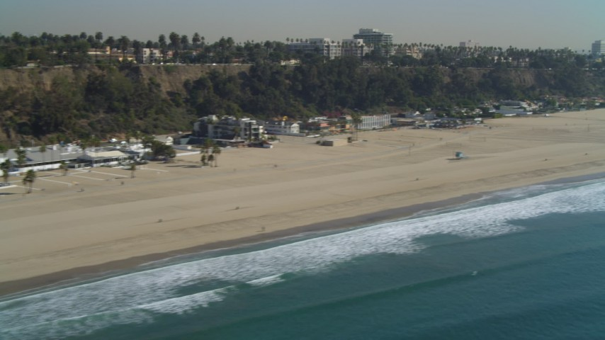 4K stock footage aerial video of flying by Santa Monica State Beach, Santa Monica, California Aerial Stock Footage | DCA05_095