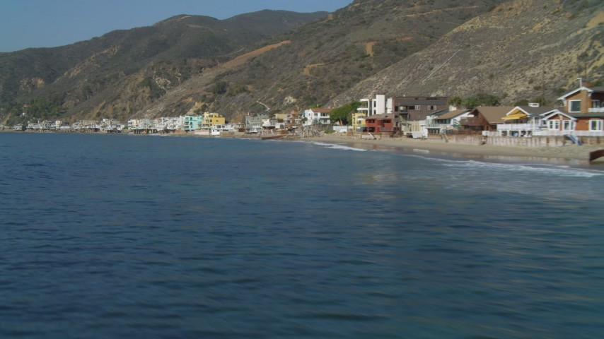 4K aerial video of flying by beachfront homes, Malibu, California Aerial Stock Footage | DCA05_101