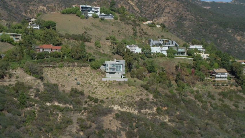 4K stock footage aerial video of approaching a home in the Malibu hills, Malibu, California  Aerial Stock Footage | DCA05_113