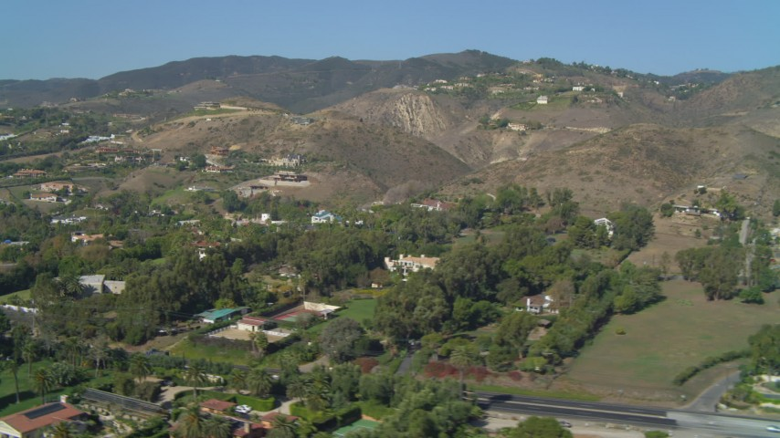 4K stock footage aerial video of hillside homes and mansions in Malibu, California Aerial Stock Footage | DCA05_126