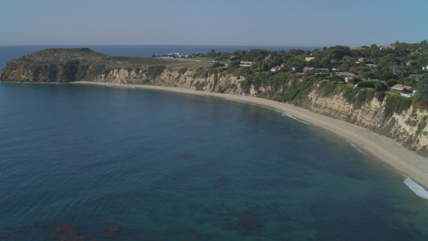 4K stock footage aerial video ascend near coastal mansion, Dume Cove, Malibu, California Aerial Stock Footage | DCA05_130