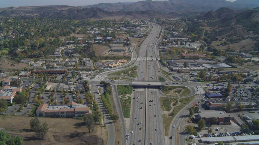 4K stock footage aerial video of following Highway 101, Agoura Hills, California Aerial Stock Footage | DCA05_150