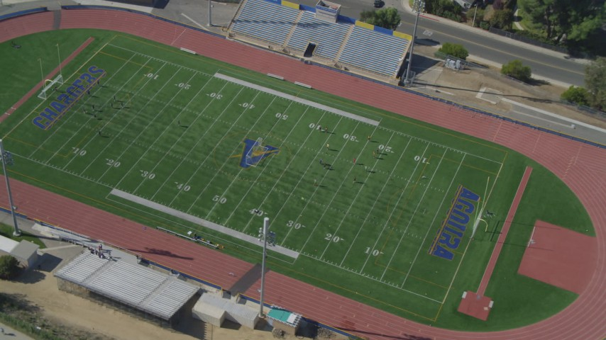 4K stock footage aerial video of orbiting a soccer practice, Agoura High School, Agoura Hills, California Aerial Stock Footage | DCA05_151