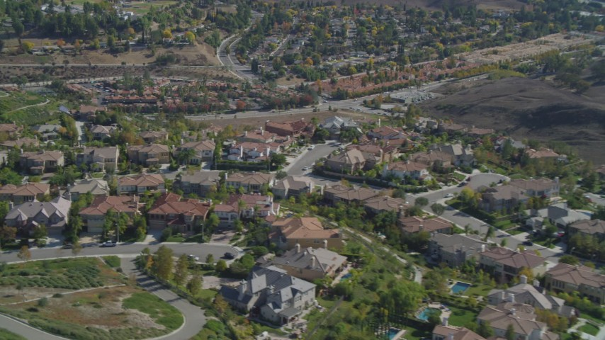 4K aerial video of flying over residential neighborhoods, Calabasas, California Aerial Stock Footage | DCA05_153