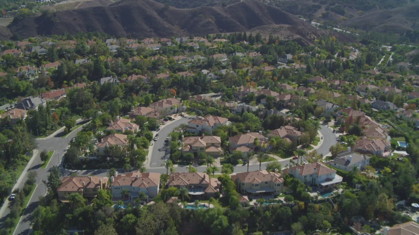 4K stock footage aerial video of flying over residential neighborhoods, Calabasas, California Aerial Stock Footage | DCA05_155