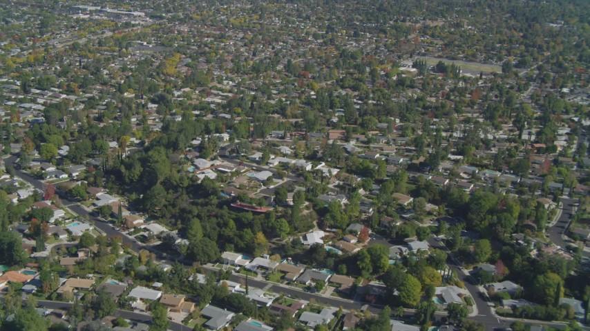 4K stock footage aerial video tilt to residential neighborhood, West Hills, California Aerial Stock Footage | DCA05_157