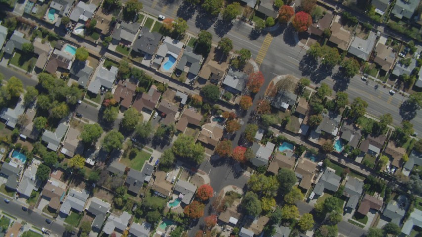 4K stock footage aerial video of a bird's eye view of residential neighborhoods, West Hills, California Aerial Stock Footage | DCA05_158