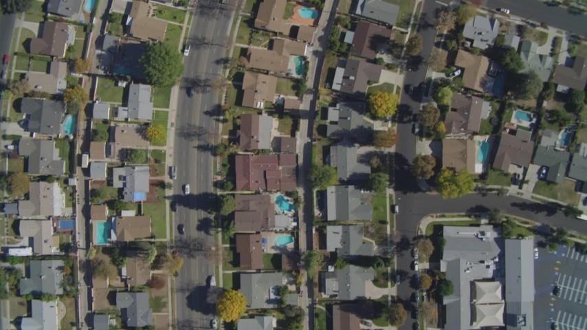 4K stock footage aerial video of a bird's eye of residential neighborhoods, West Hills, California Aerial Stock Footage | DCA05_160