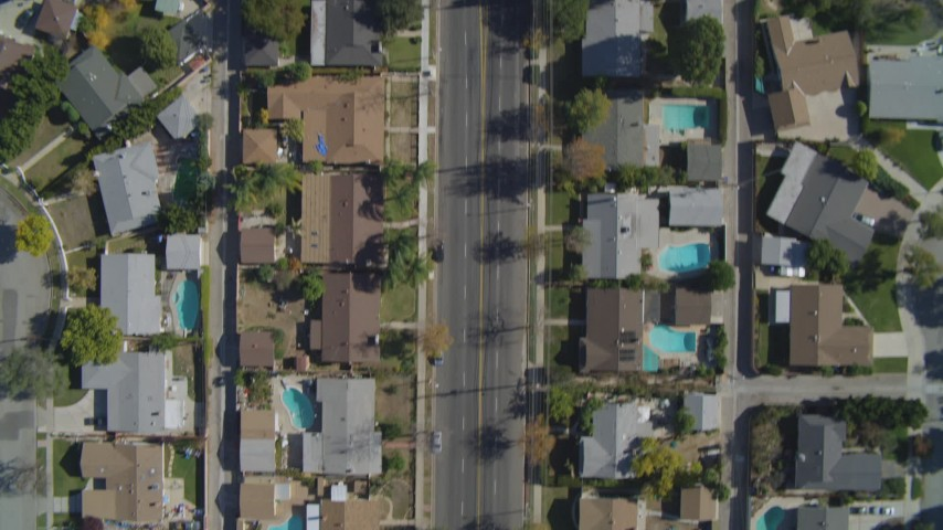 4K stock footage aerial video of a bird's eye view flying over residential neighborhoods, Canoga Park, California Aerial Stock Footage | DCA05_162