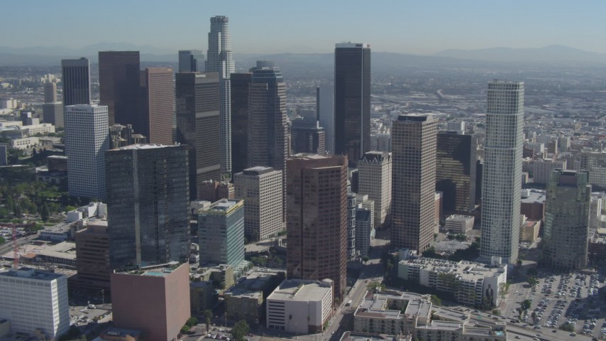 4K stock footage aerial video approach and flyby city skyscrapers, Downtown Los Angeles, California  Aerial Stock Footage | DCA06_002