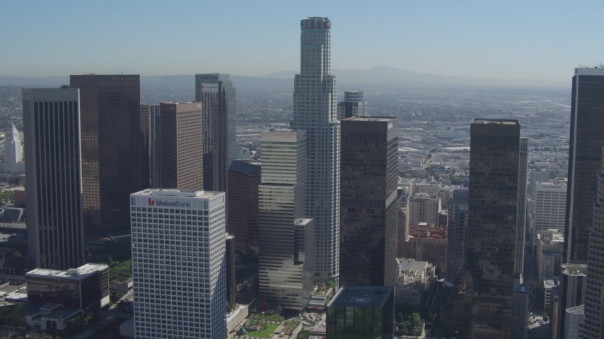 4K stock footage aerial video of city skyscrapers, and focus on US Bank Tower, Downtown Los Angeles, California Aerial Stock Footage | DCA06_003