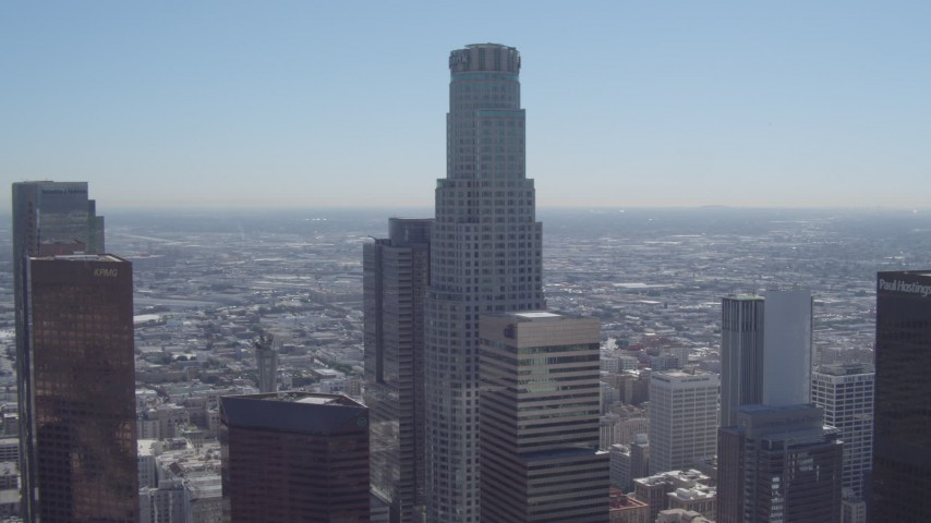 4K stock footage aerial video of US Bank Tower in Downtown Los Angeles, California  Aerial Stock Footage | DCA06_004