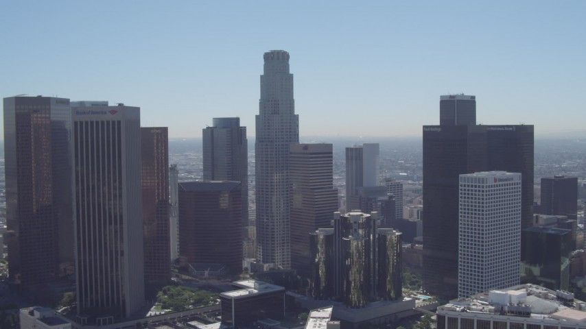 4K stock footage aerial video tilt from LA Hotel Downtown, revealing US Bank Tower, Downtown Los Angeles, California Aerial Stock Footage | DCA06_006