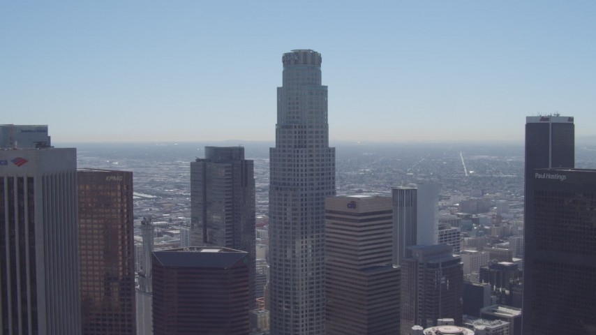 4K aerial video of approaching US Bank Tower, Downtown Los Angeles, California Aerial Stock Footage | DCA06_007