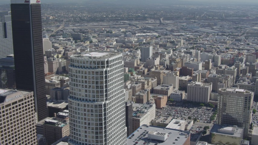 4K stock footage aerial video flyby skyscrapers, revealing Broadway Theater District, Downtown Los Angeles, California Aerial Stock Footage | DCA06_010