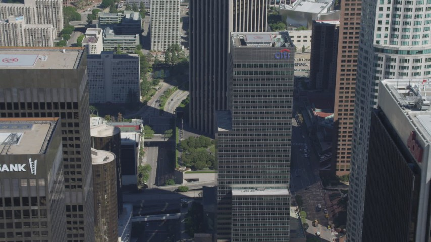 4K stock footage aerial video approach Citigroup Center, tilt to street, Downtown Los Angeles, California Aerial Stock Footage | DCA06_011