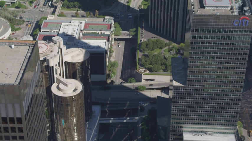 4K aerial video of tilting to a bird's eye view of city streets in Downtown Los Angeles, California Aerial Stock Footage | DCA06_012