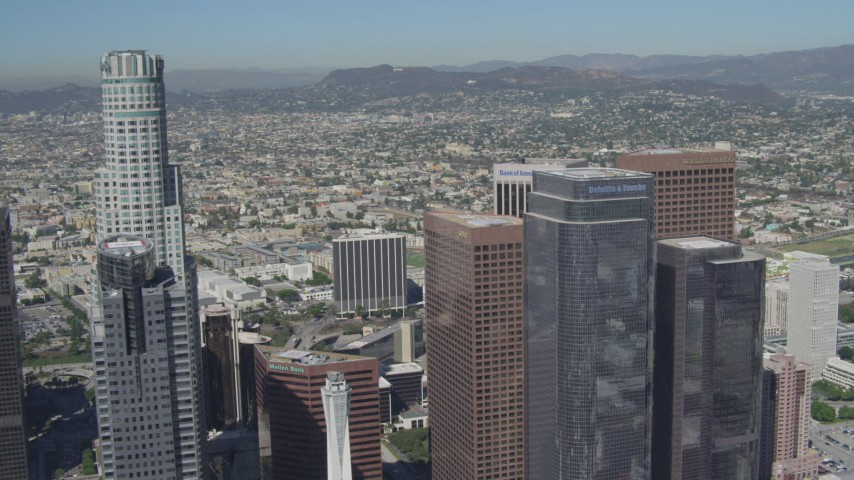4K aerial video of flying by city skyscrapers in Downtown Los Angeles, California Aerial Stock Footage | DCA06_013