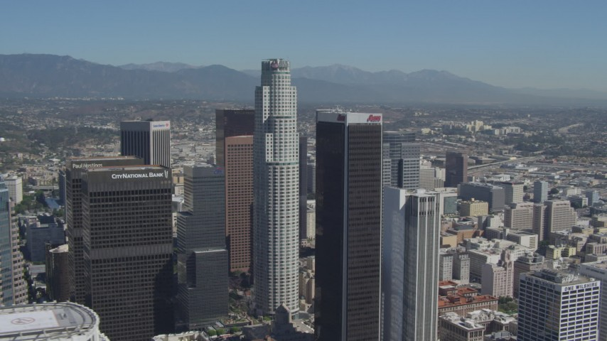 4K aerial video of orbiting tall city skyscrapers in Downtown Los Angeles, California Aerial Stock Footage | DCA06_015