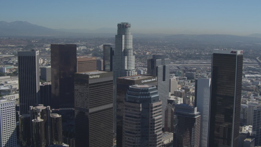 4K aerial video of US Bank Tower at the center of skyscrapers, Downtown Los Angeles, California Aerial Stock Footage | DCA06_016