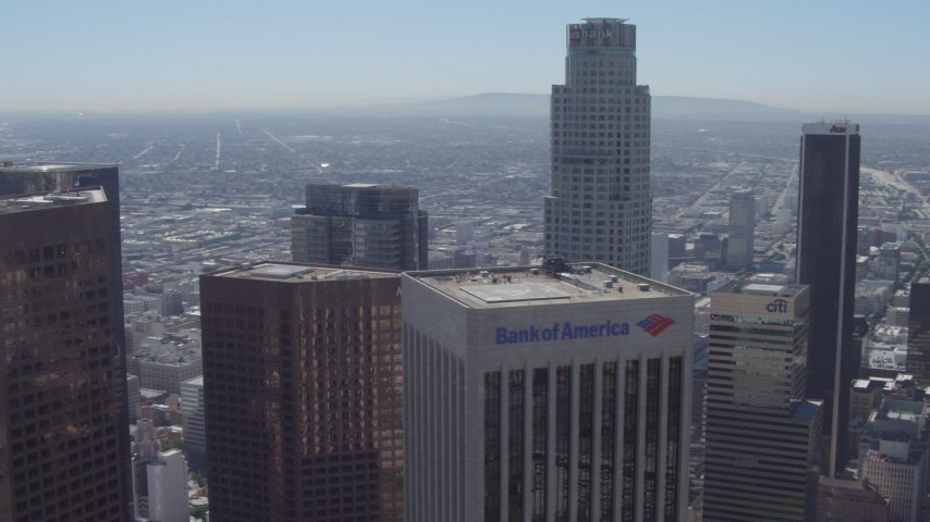4K stock footage aerial video wide orbit around US Bank Tower, nearby skyscrapers, Downtown Los Angeles, California Aerial Stock Footage | DCA06_018