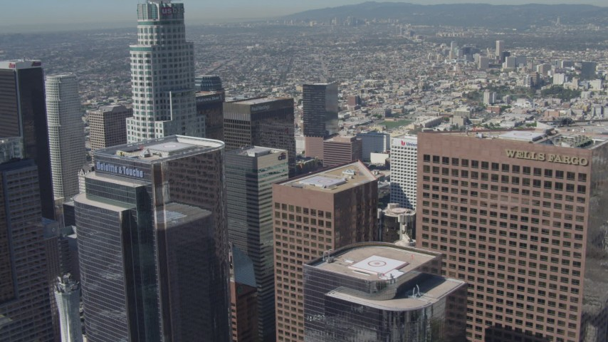 4K stock footage aerial video flyby tall skyscrapers and US Bank Tower in Downtown Los Angeles, California Aerial Stock Footage | DCA06_019