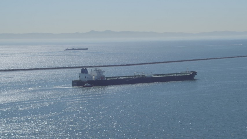 4K aerial video of a view of an oil tanker near breakwater, Long Beach, California Aerial Stock Footage | DCA06_028