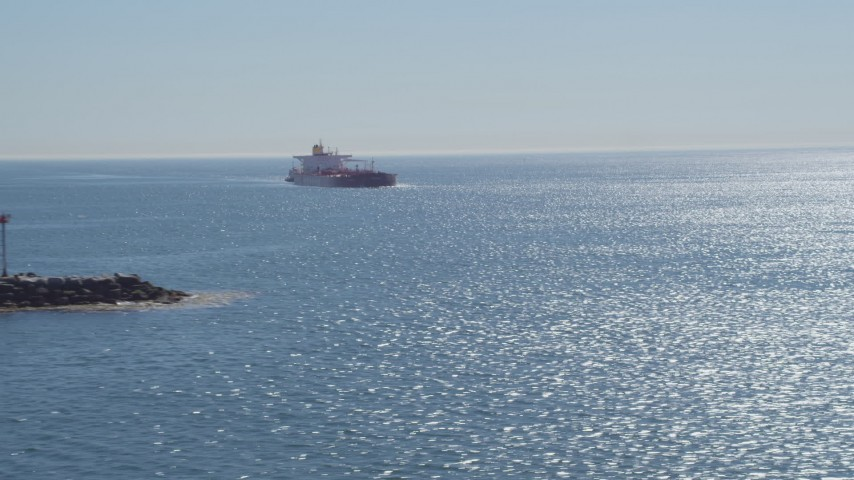 4K stock footage aerial video of an oil tanker sailing toward Long Beach, California Aerial Stock Footage | DCA06_036