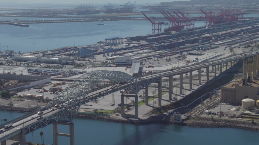 4K stock footage aerial video of Terminal Island and the Port of Long Beach, California Aerial Stock Footage | DCA06_038