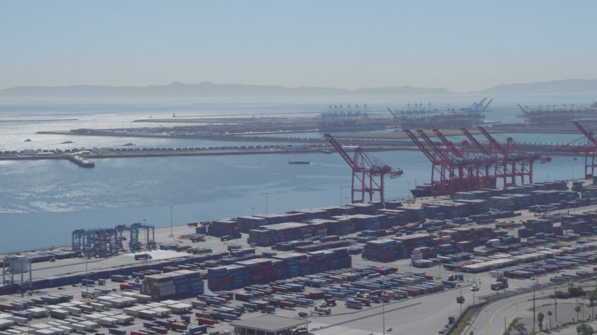 4K stock footage aerial video of flying by cargo containers, cranes at Port of Long Beach, California Aerial Stock Footage | DCA06_039