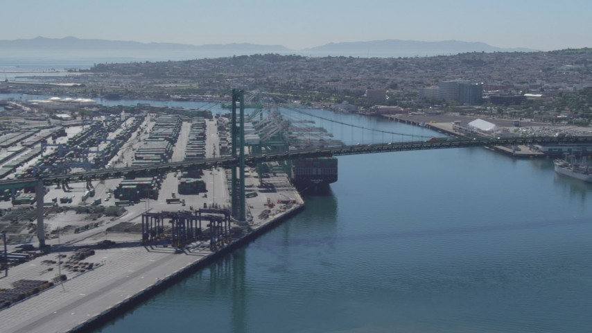4K stock footage aerial video of flying by Vincent Thomas Bridge, San Pedro, California Aerial Stock Footage | DCA06_044