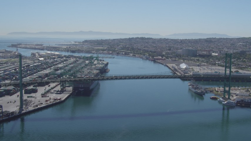 4K stock footage aerial video of approaching Vincent Thomas Bridge between Port of Los Angeles and San Pedro, California Aerial Stock Footage | DCA06_045