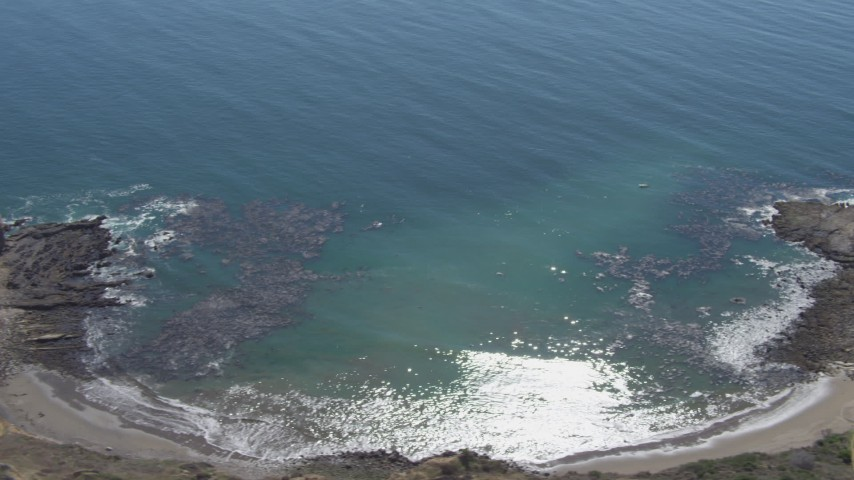 4K aerial video flyby cove and cliffs in Rancho Palos Verdes, California Aerial Stock Footage | DCA06_052