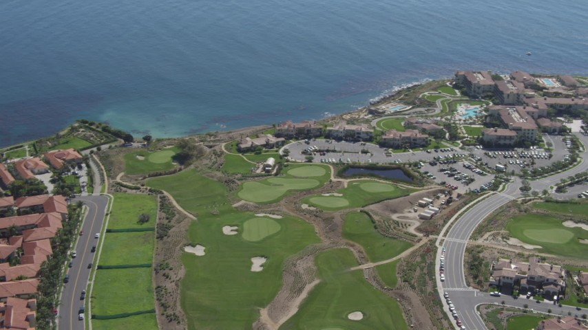4K aerial video flyby a resort and golf course on the coast in Rancho Palos Verdes, California Aerial Stock Footage | DCA06_054